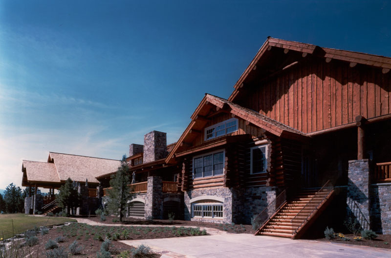 rustic log golf clubhouse architecture